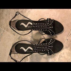 Black Heels with Silver Gems